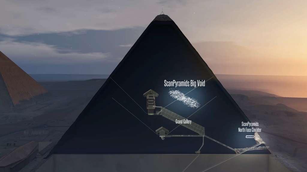 Un grand vide d'environ 30 mètres de longueur a été découvert au-dessus de la Grande galerie à l'intérieur de la pyramide de Khéops. © ScanPyramids mission