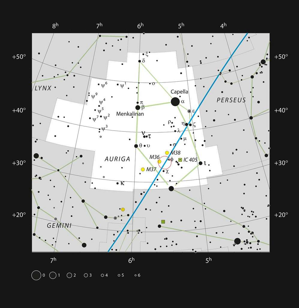 Sur cette carte figure la localisation de la région de formation stellaire baptisée AFGL 5142, récemment observée au moyen d'Alma, dans la constellation du Cocher. La plupart des étoiles visibles à l'œil nu par temps clair et par nuit noire sont représentées. Sur cette image, AFGL 5142 est entourée d'un cercle de couleur rouge. © ESO, IAU and Sky & Telescopecc