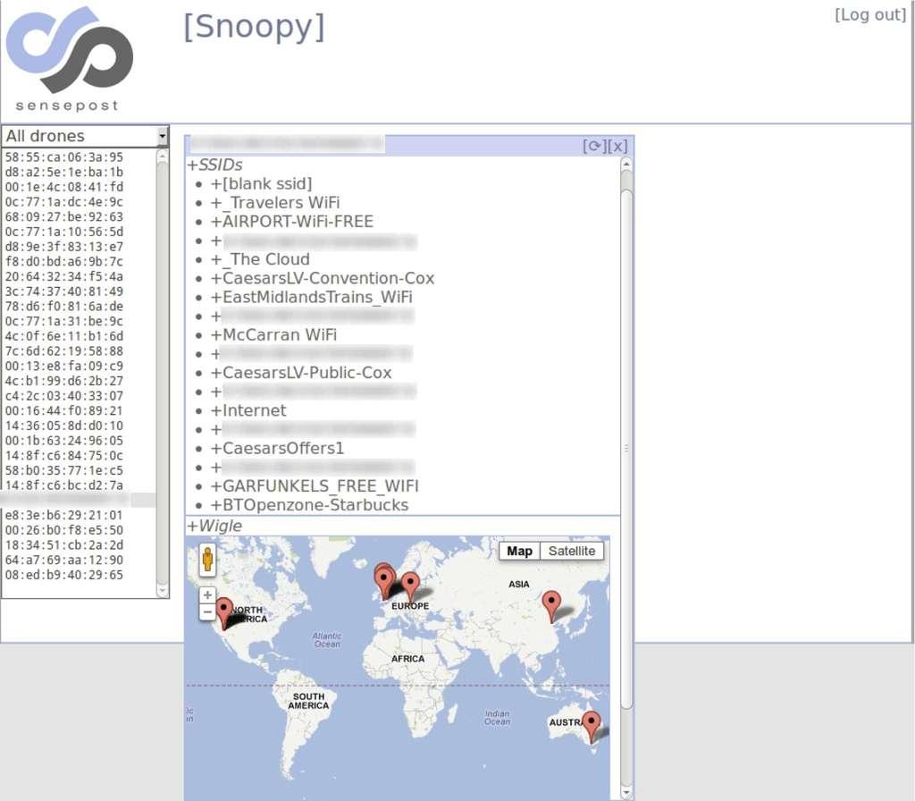 Cette capture d'écran illustre le fonctionnement du logiciel Snoopy. La colonne de gauche affiche les drones Snoopy en activité. Dans la fenêtre de droite, on peut voir la liste de points d'accès Wi-Fi auxquels le smartphone espionné s'est connecté. Ces informations sont croisées avec des coordonnées GPS puis matérialisées sur une carte, ce qui permet de visualiser les déplacements d'une personne. © SensePost