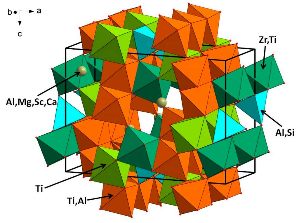 La carmeltazite possède un arrangement unique d'atomes de titane, aluminium et zirconium. © William L. Griffin et al, Minerals, 2018