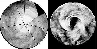 Images du pôle sud de Vénus prises par les sondes Mariner 10 et Pioneer Vénus, respectivement au début des années 70 et 80 (Crédits : NASA)