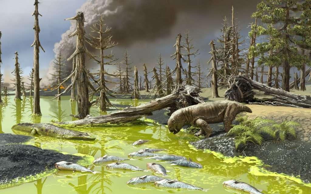 Sur cette vue d'artiste, les conditions qui régnaient au moment de l'extinction de masse du Permien-Trias. © Victor Leshyk, Université du Connecticut