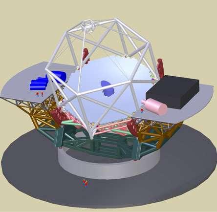 Figure 9. Représentation du projet TMT de 30 mètres de diamètre. Le miroir primaire consiste en plus de 700 segments de 1,2 mètre de diamètre. © TMT
