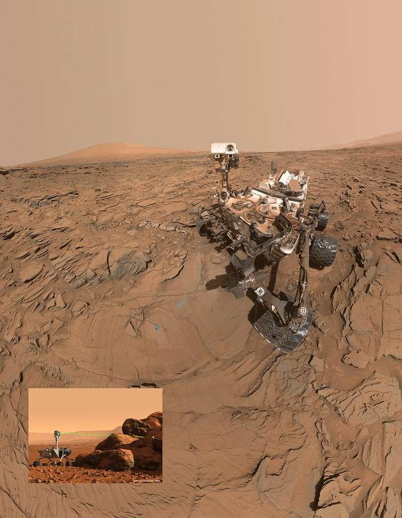 Sur Mars, le rover Curiosity utilise également un laser pour déterminer la composition élémentaire des roches. Ce laser, à bord de l'instrument Chemcam, a été fabriqué par le groupe français Thales, qui travaille actuellement sur un modèle amélioré pour le rover Mars 2020. Il s'agit du premier laser jamais envoyé sur une autre planète. © Nasa, JP et J.L. Labour pour la vue d'artiste