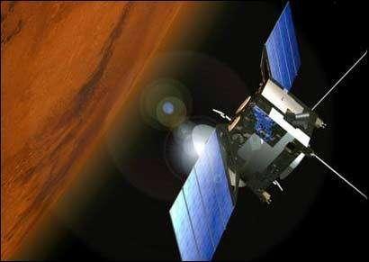 La sonde Mars Express en orbite autour de la planète rouge (crédit : ESA)
