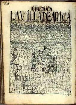La cité d'Arica (Pérou, aujourd'hui au Chili) sous les cendres de l'éruption volcanique de février et mars 1600. La ville jouait un rôle essentiel comme port approvisionnant la grande cité de l'argent du Pérou, Potosi (aujourd'hui en Bolivie). © Domaine public, illustrations tirées du site de la Bibliothèque royale du Danemark, propriétaire du seul manuscrit de Guaman Poma égaré pendant près de trois siècles