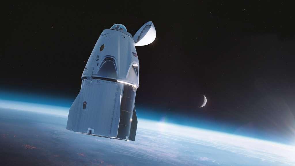 Le Crew Dragon d'Inspiration4. Une coupole d'observation sera installée à la place du port d'amarrage de la capsule. © SpaceX