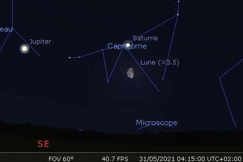 La Lune en rapprochement avec Saturne