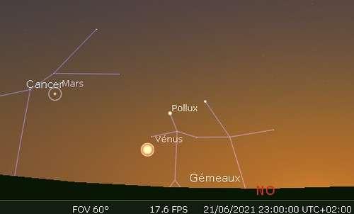 Vénus en rapprochement avec Pollux
