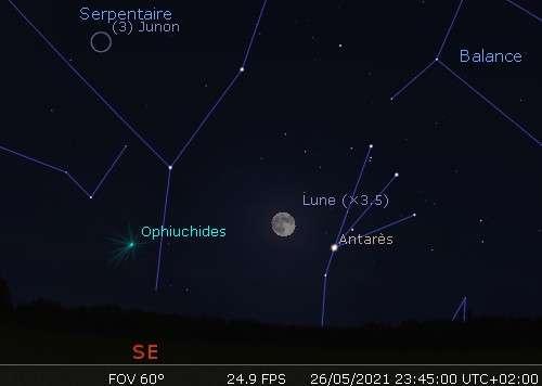 La plus grosse Pleine Lune de l'année en rapprochement avec Antarès