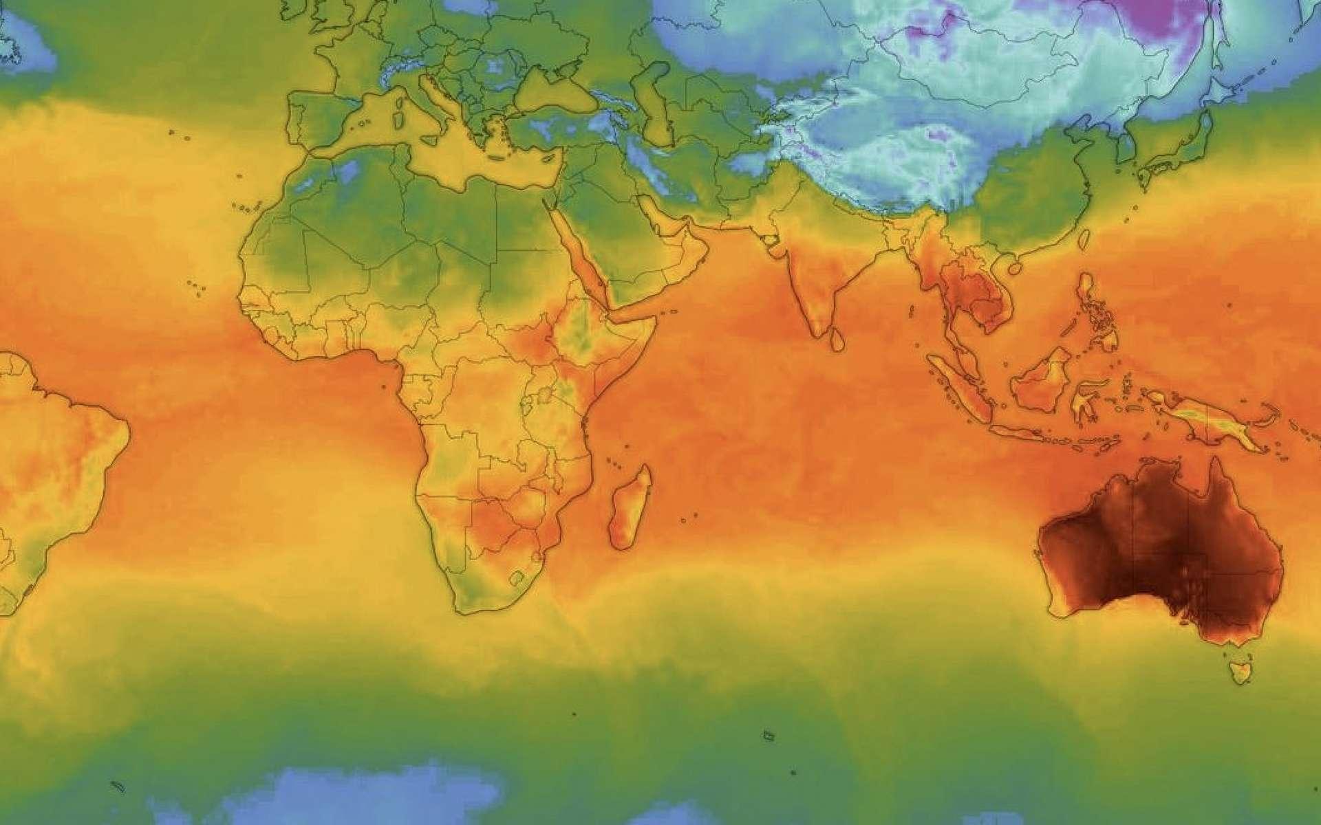 Carte des températures relevées dans le monde le 18 décembre 2019. En proie à une vague de chaleur sans précédent, l'Australie se distingue nettement du reste du Globe. © Windy