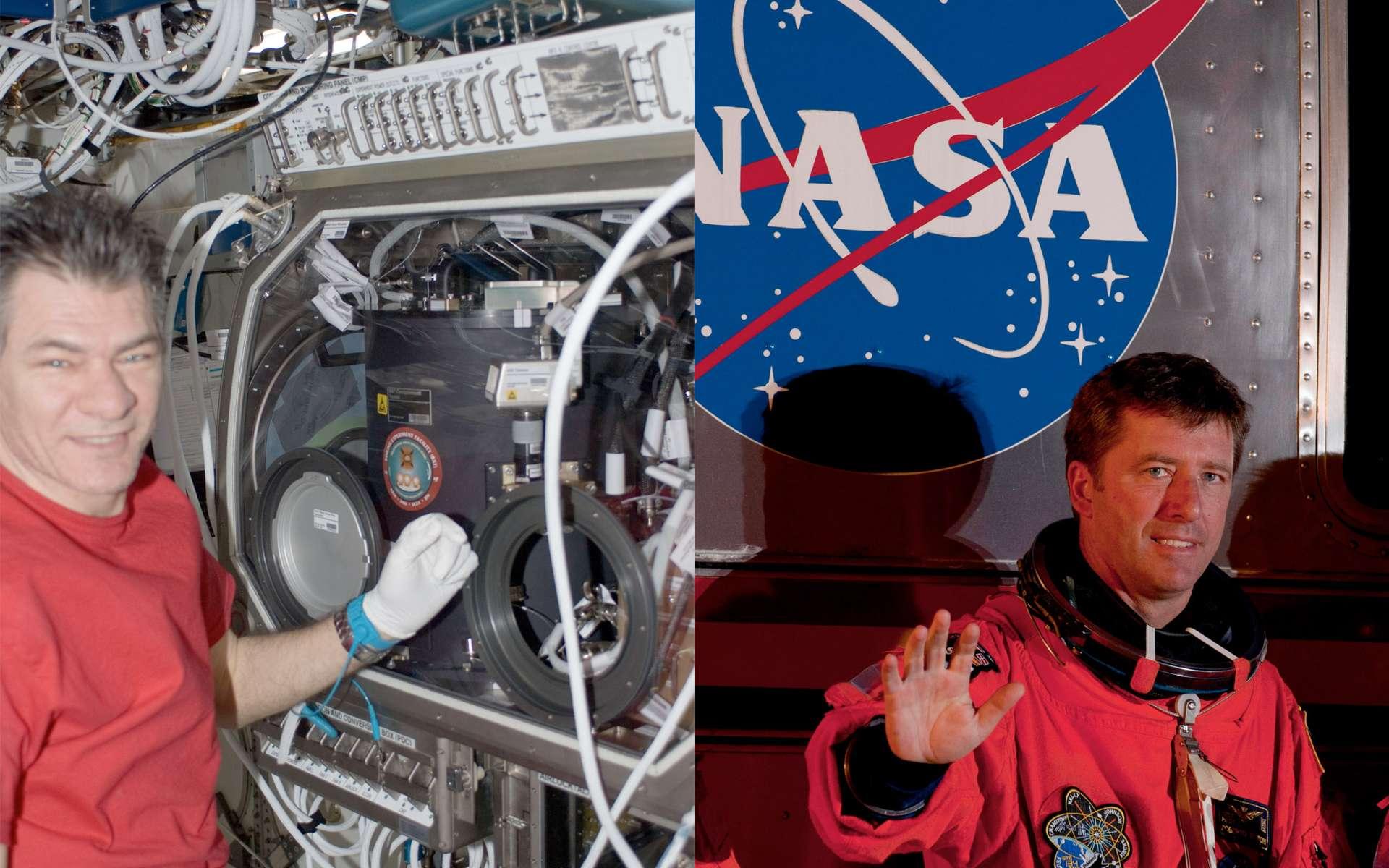 Avec l'arrivée d'Endeavour, deux astronautes de l'Agence spatiale européenne sont à bord de l'ISS. Les Italiens Roberto Vittori arrivé avec la navette (mission Dama) et Paolo Nespoli (mission MagISStra), membre d'Expedition 27. © Nasa