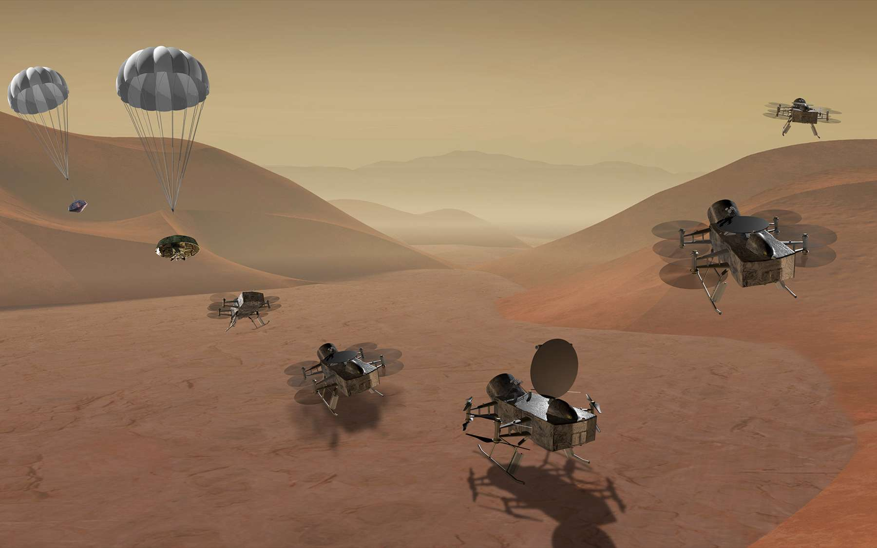 Une vue artistique de ce que pourrait être le Dragon Fly, un engin volant conçu pour se promener sur Titan, la plus grosse lune de Saturne. © Laboratoire de physique appliquée de l'université Johns-Hopkins, Steve Gribben