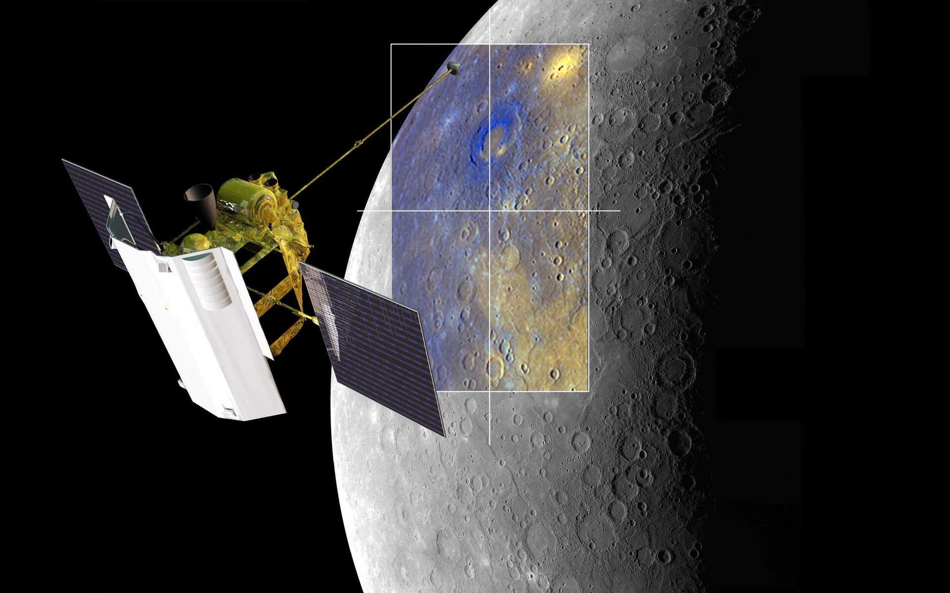 Une vue d'artiste de la sonde Messenger cartographiant Mercure. © Nasa