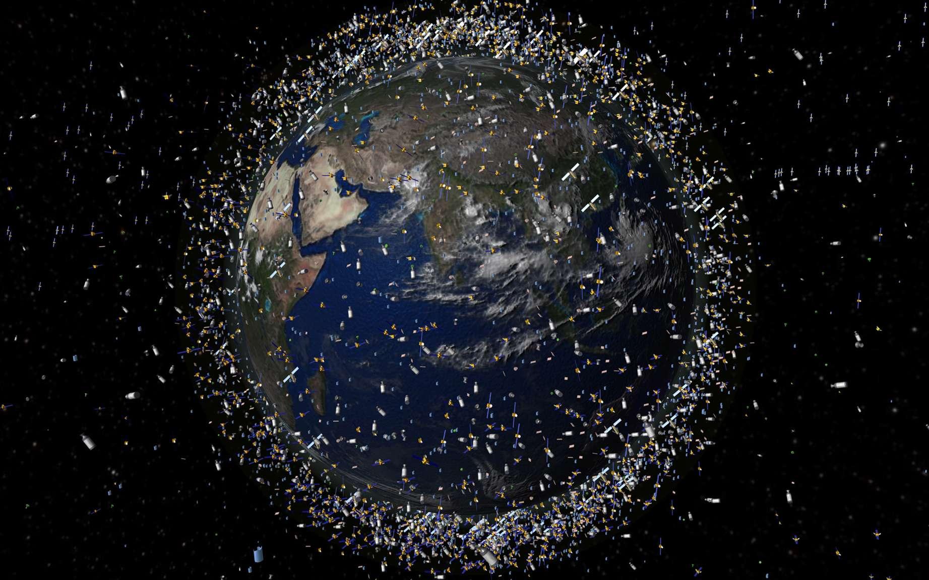 Représentation artistique de la population des satellites et des débris spatiaux en orbite autour de la Terre. © ESA