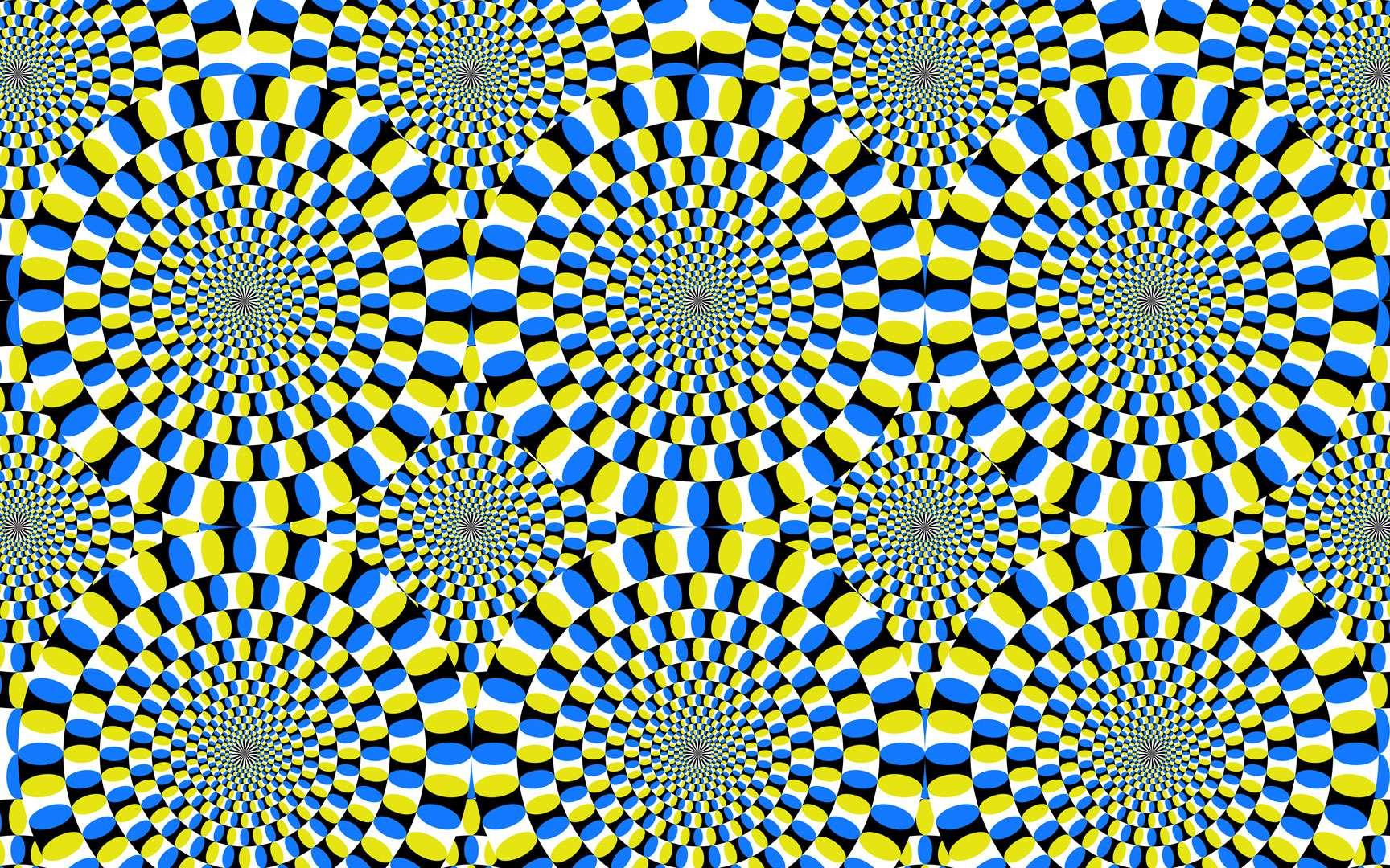 Les serpents tournants d'Akiyoshi Kitaoka. Vous avez certainement déjà croisé ces serpents ; ils sont l'œuvre du Japonais Akiyoshi Kitaoka. Ils sont matérialisés par une multitude de cercles, composés eux-mêmes de cercles concentriques. Lorsque nous balayons du regard cet assemblage, ils s'animent sous l'effet de la répétition et de la concentricité. © Akiyoshi Kitaoka, DR
