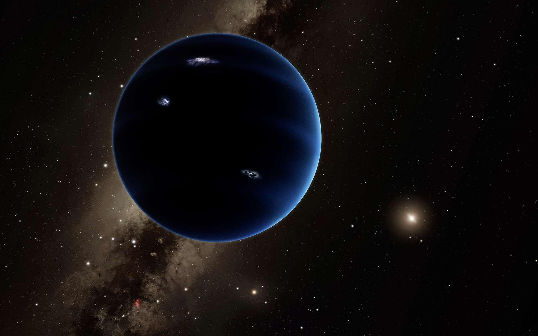 Illustration de l'hypothétique neuvième planète, cachée dans les confins du Système solaire, mille fois plus éloignée du Soleil que la Terre. © Caltech, R. Hurt (IPAC)