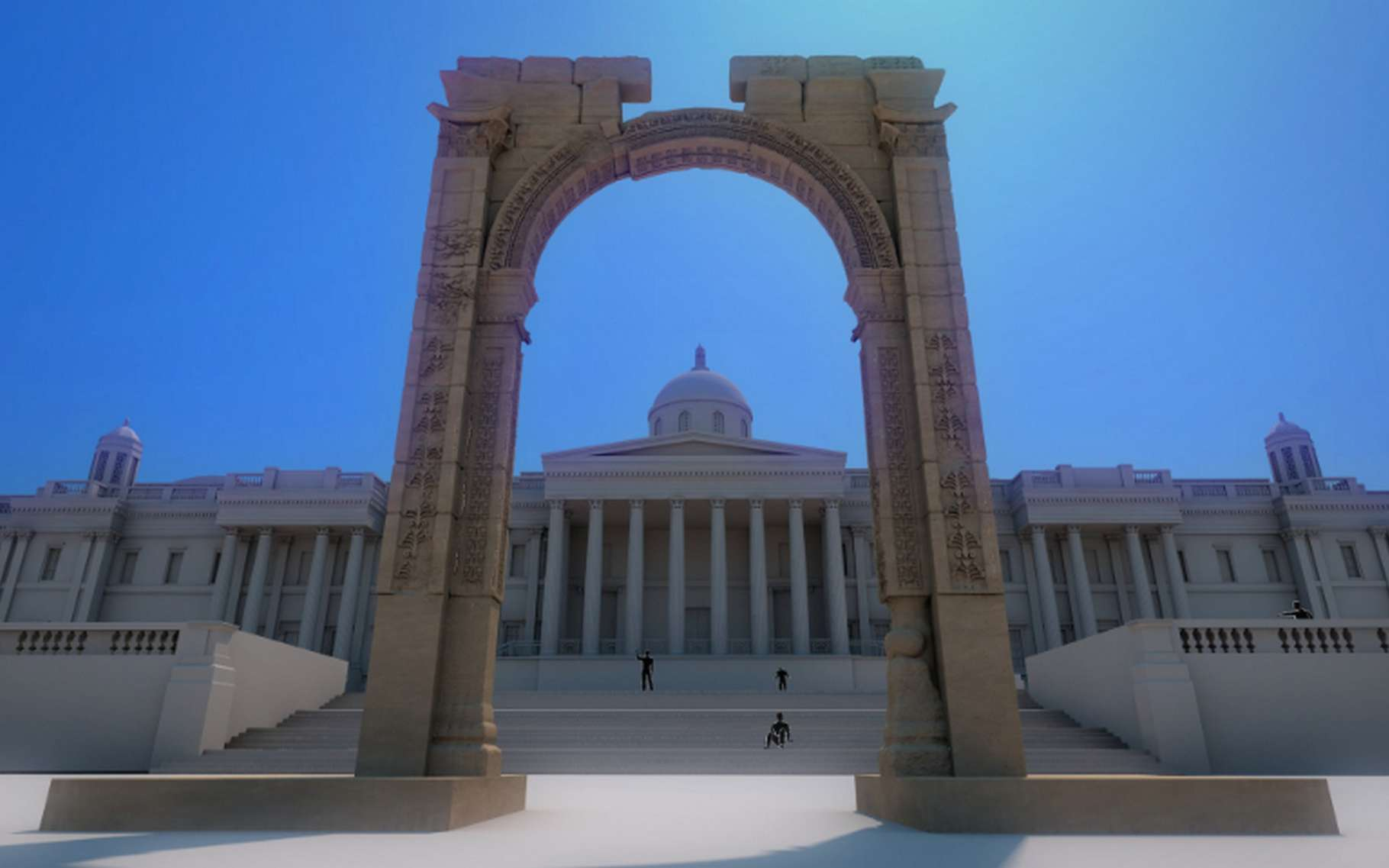 Voici la reproduction à l'échelle deux tiers de l'arc de triomphe de Palmyre. Avant la destruction de l'édifice original par les séides de Daech, des volontaires munis d'appareils photo 3D fournis par l'Institut d'archéologie numérique, ont pu photographier le site. Ces clichés ont servi de base pour créer une modélisation 3D qui a servi de guide aux robots-sculpteurs. © Institute for Digital Archaeology