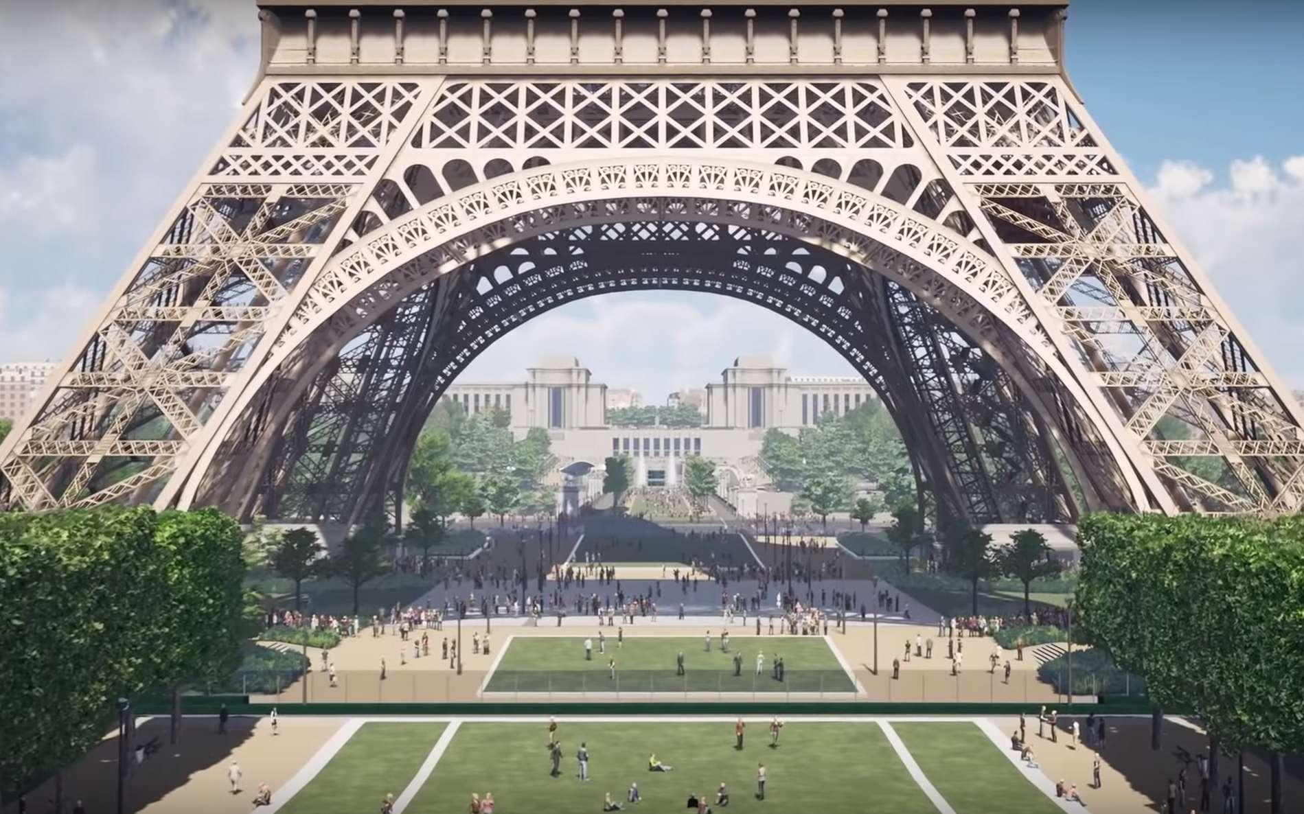 Un vaste projet de réaménagement transformera le passage du Trocadéro à la Tour Eiffel en parc d'ici 2024. © Autodesk, Design Team, Ville de Paris, WSP