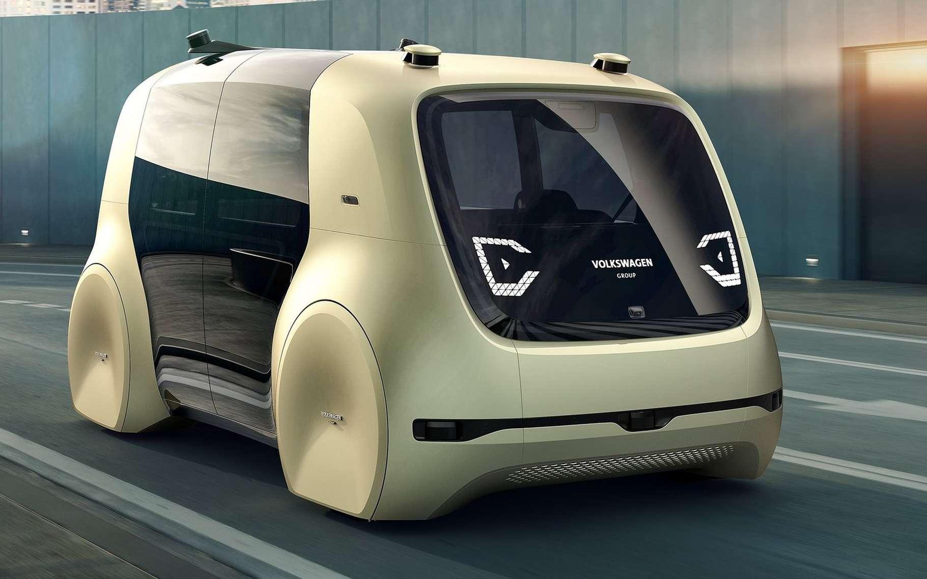 Le concept-car Sedric de Volkswagen est dépourvu de pédales et de volant, exactement comme la voiture autonome de Google. © Volkswagen