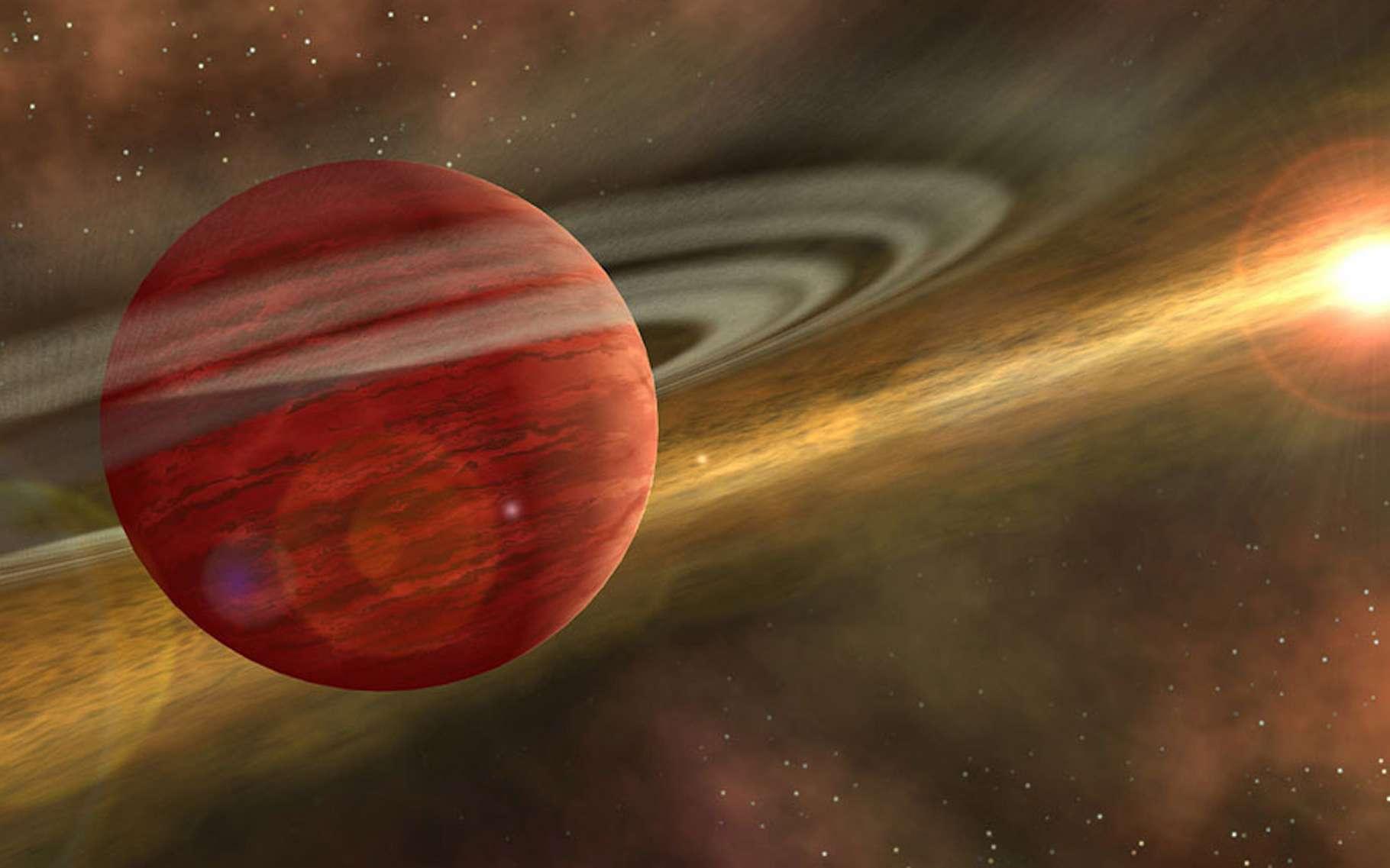 Ici, une vue d'artiste d'une planète géante en orbite autour d'une étoile jeune et rappelant le cas de 2MASS 1155-7919 b, le bébé planète géante découvert par des chercheurs du Rochester Institute of Technology (États-Unis). © Nasa, JPL-Caltech, R. Blessure (SSC-Caltech)