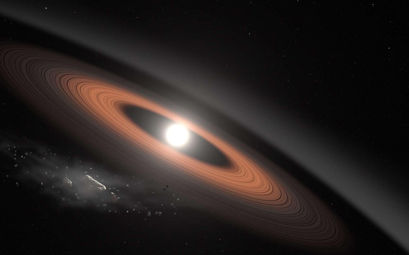 Dans cette illustration, un astéroïde (en bas à gauche) se brise sous la puissante gravité de LSPM J0207 + 3331, la naine blanche la plus ancienne et la plus froide connue pour être entourée d'un anneau de débris poussiéreux. Les scientifiques pensent que le signal infrarouge du système s'explique mieux par deux anneaux distincts composés de poussière fournie par des astéroïdes en ruine. © Nasa's Goddard Space Flight Center/Scott Wiessinger