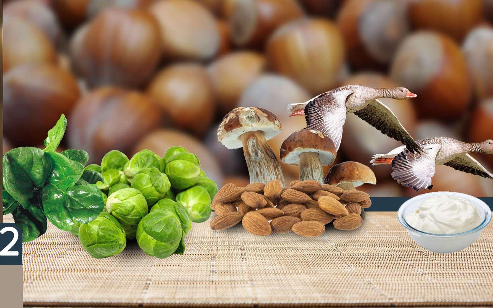 Amandes, choux de bruxelles... , source de vitamine B2. © Fotolia.