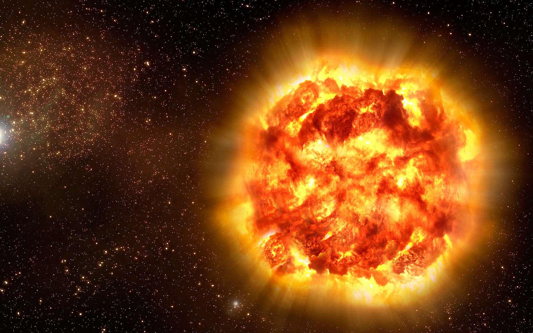 supernova dans NGC 6118. L'étoile indiquée par une flèche est une supernova, observée au VLT.