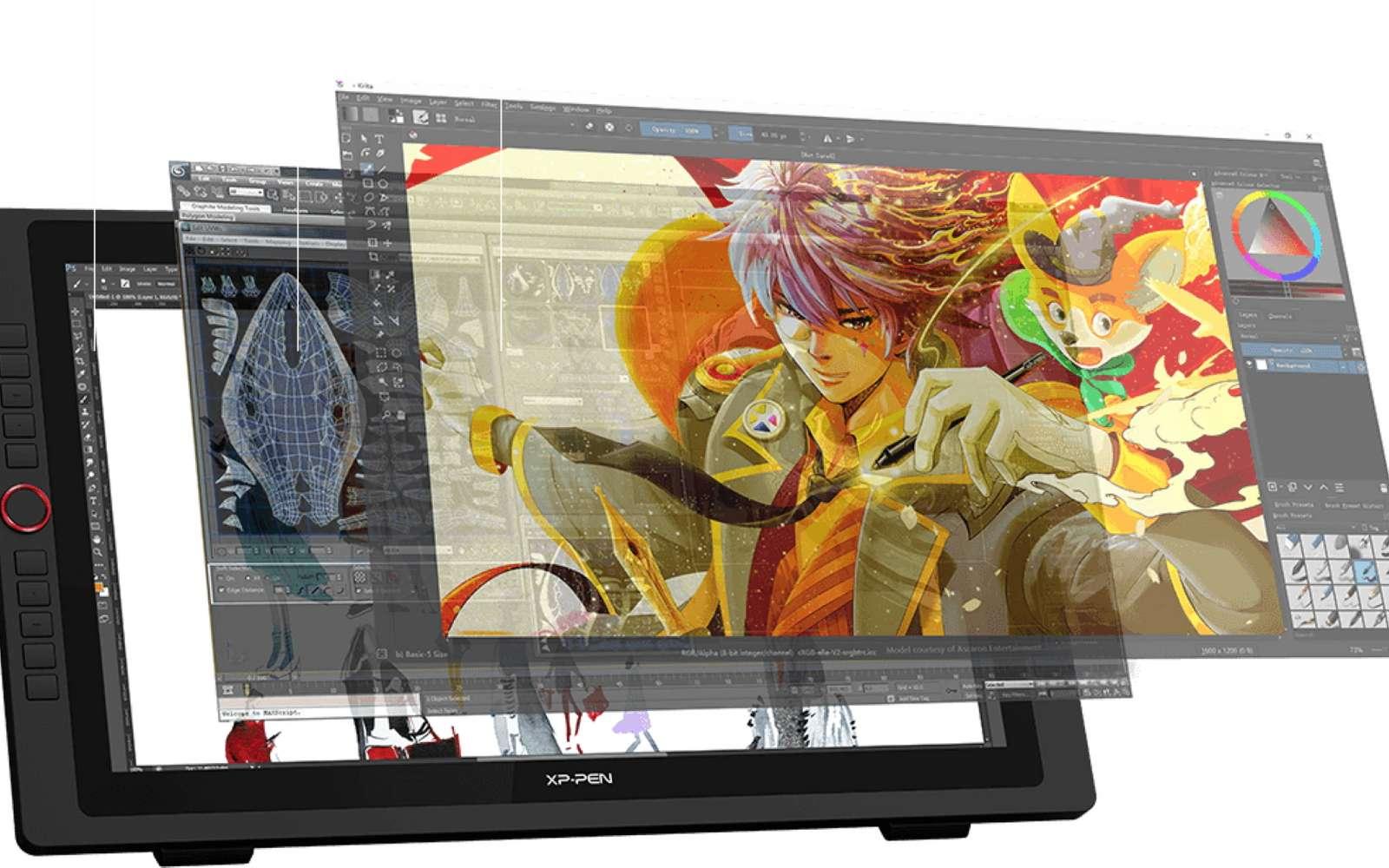 La tablette graphique nécessite un apprentissage assez long puisqu'on ne dessine pas directement à l'écran. © XP-Pen