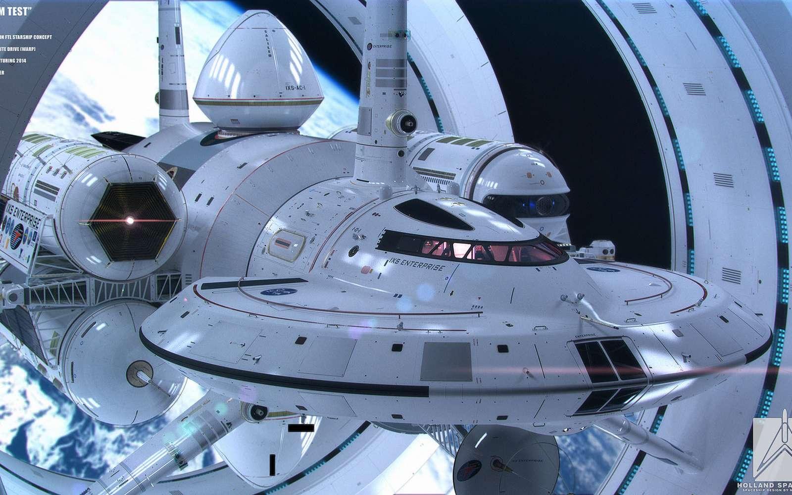 Concept de vaisseau spatial susceptible de voyager à des vitesses dépassant celle de la lumière, réalisé par Mark Rademaker d'après une étude de Harold White. © Mark Rademaker