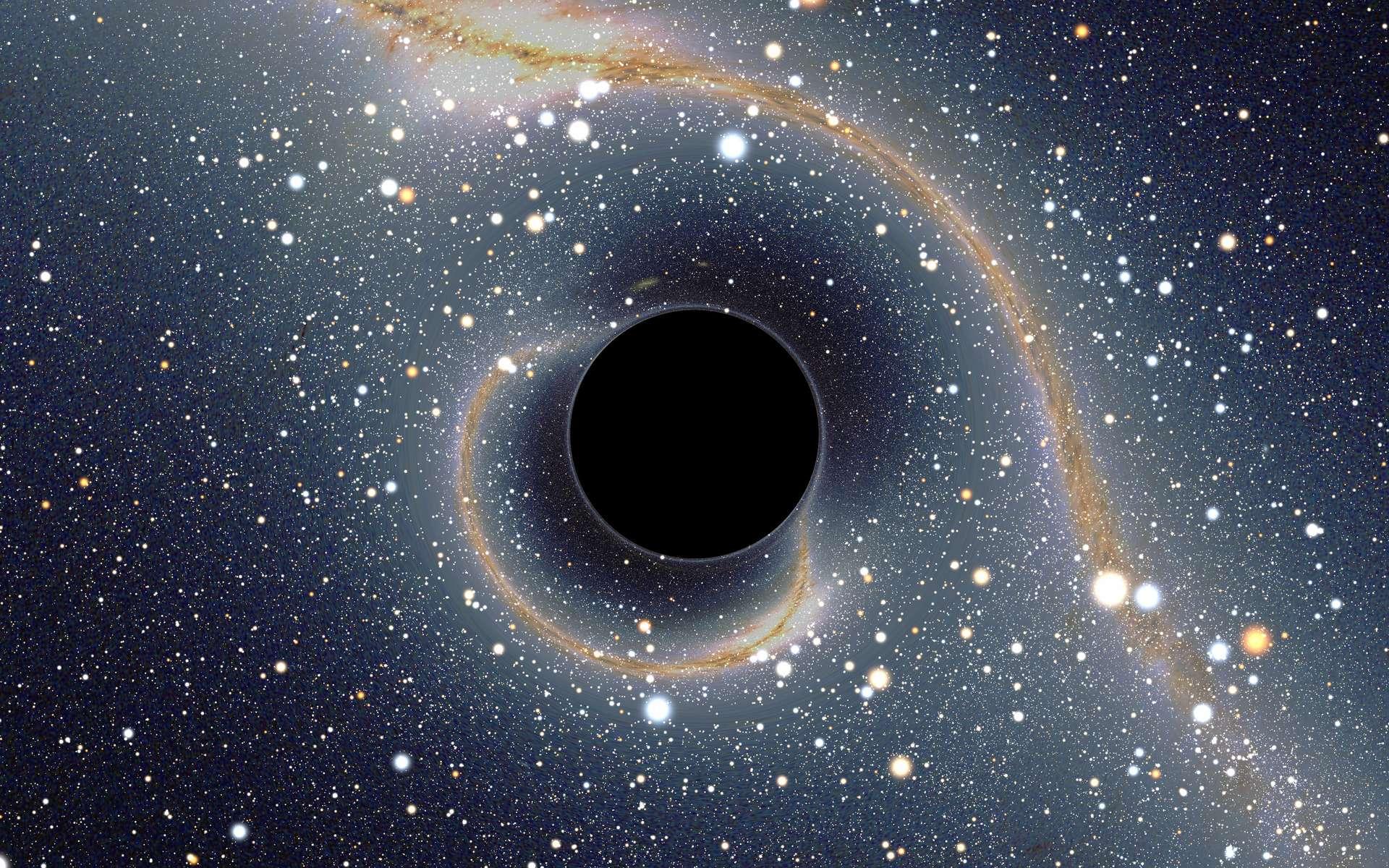 L'effet de lentille gravitationnelle produit par un trou noir est nettement visible sur cette image de synthèse réaliste. © Alain Riazuelo