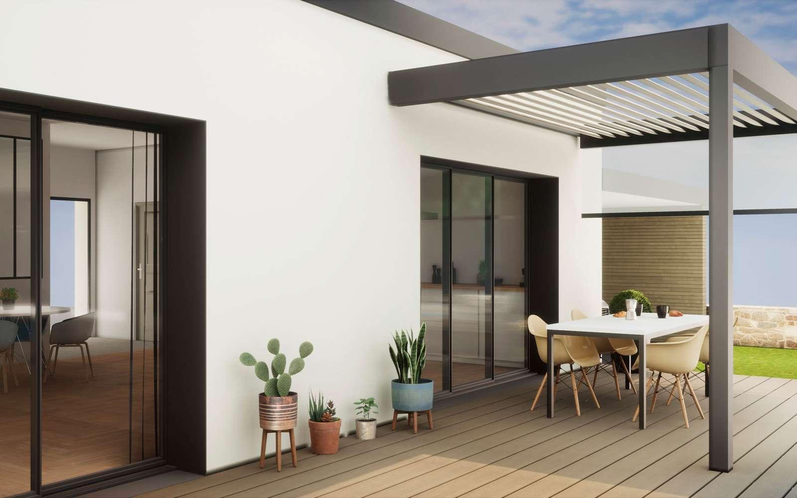 Photo d'une terrasse avec une véranda © alexande sveiger, Adobe Stock
