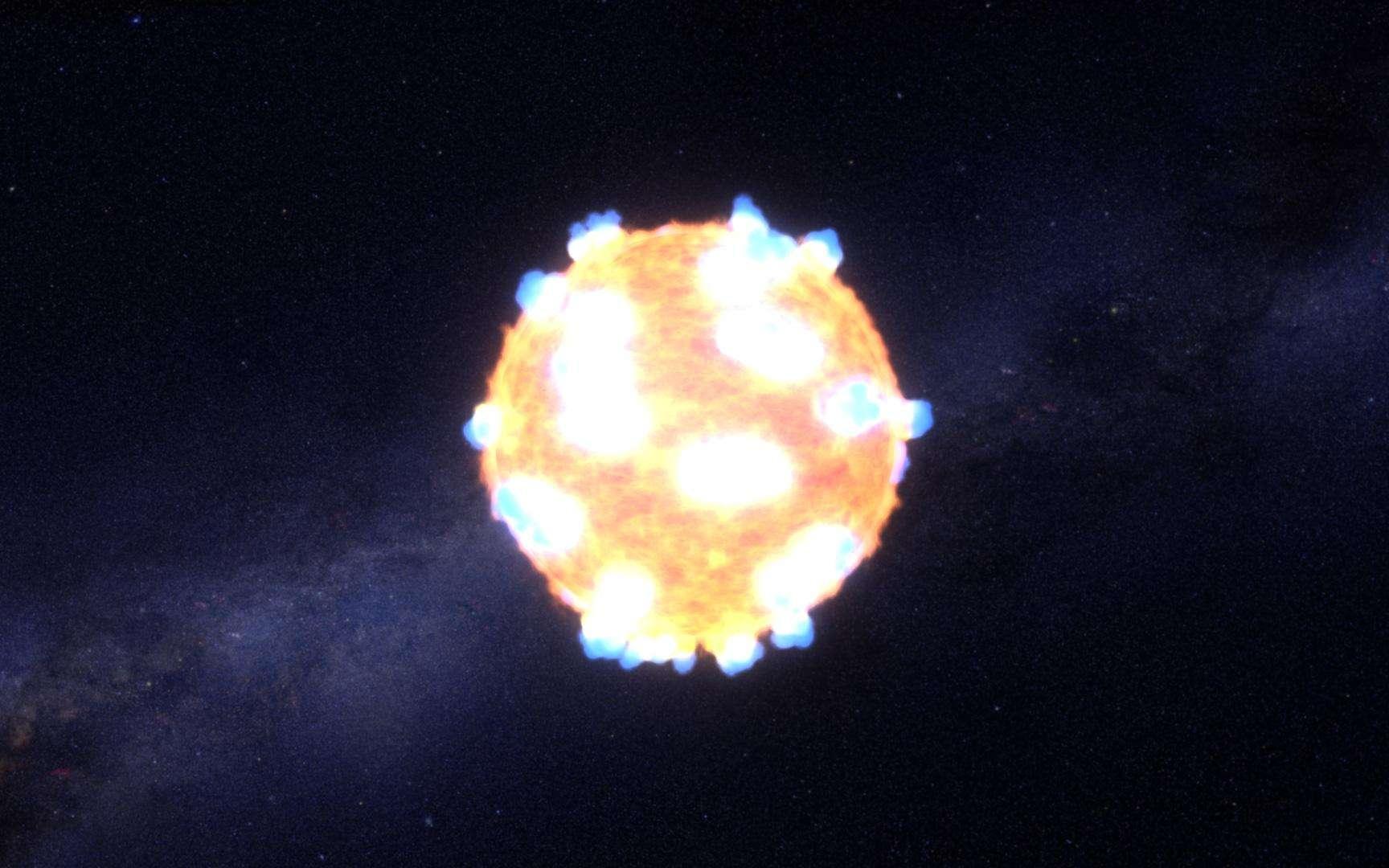 Illustration du flash lumineux produit lorsque l'onde de choc qui traverse la supergéante rouge après l'effondrement de son cœur atteint la surface et la déchire. Dans le cas de KSN 2011d, 500 fois plus grosse que le Soleil, elle a parcouru ses entrailles en environ 20 minutes. L'étoile vit ses derniers instants avant l'explosion. © Nasa, Ames, STScI