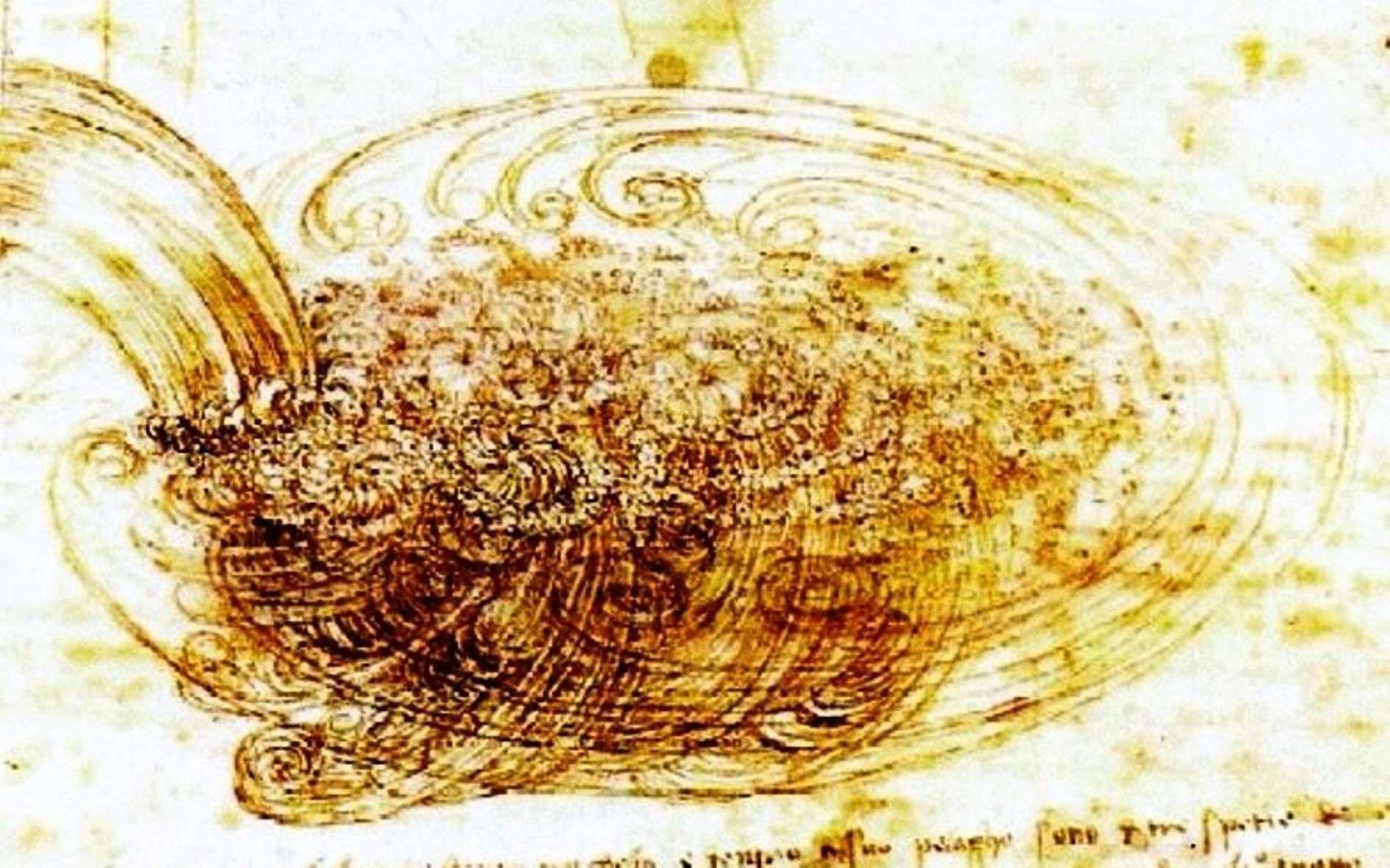 L'écoulement des fluides fascine l'Homme depuis des millénaires. Plusieurs dessins de Léonard de Vinci montrent les formes tourbillonnantes que peut prendre l'eau. © Images des mathématiques, CNRS