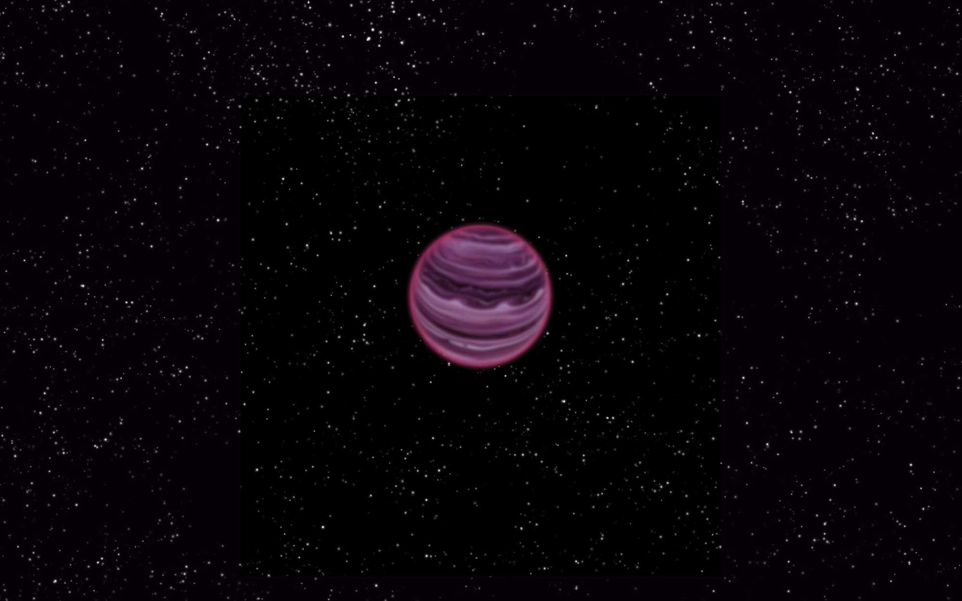 Une vue d'artiste de l'exoplanète PSO J318.5-22 errant en solitaire, sans étoile, à 80 années-lumière de la Terre. Elle est très jeune (12 millions d'années) et bien moins chaude qu'une étoile (800 °C). © V. Ch. Quetz, MPIA