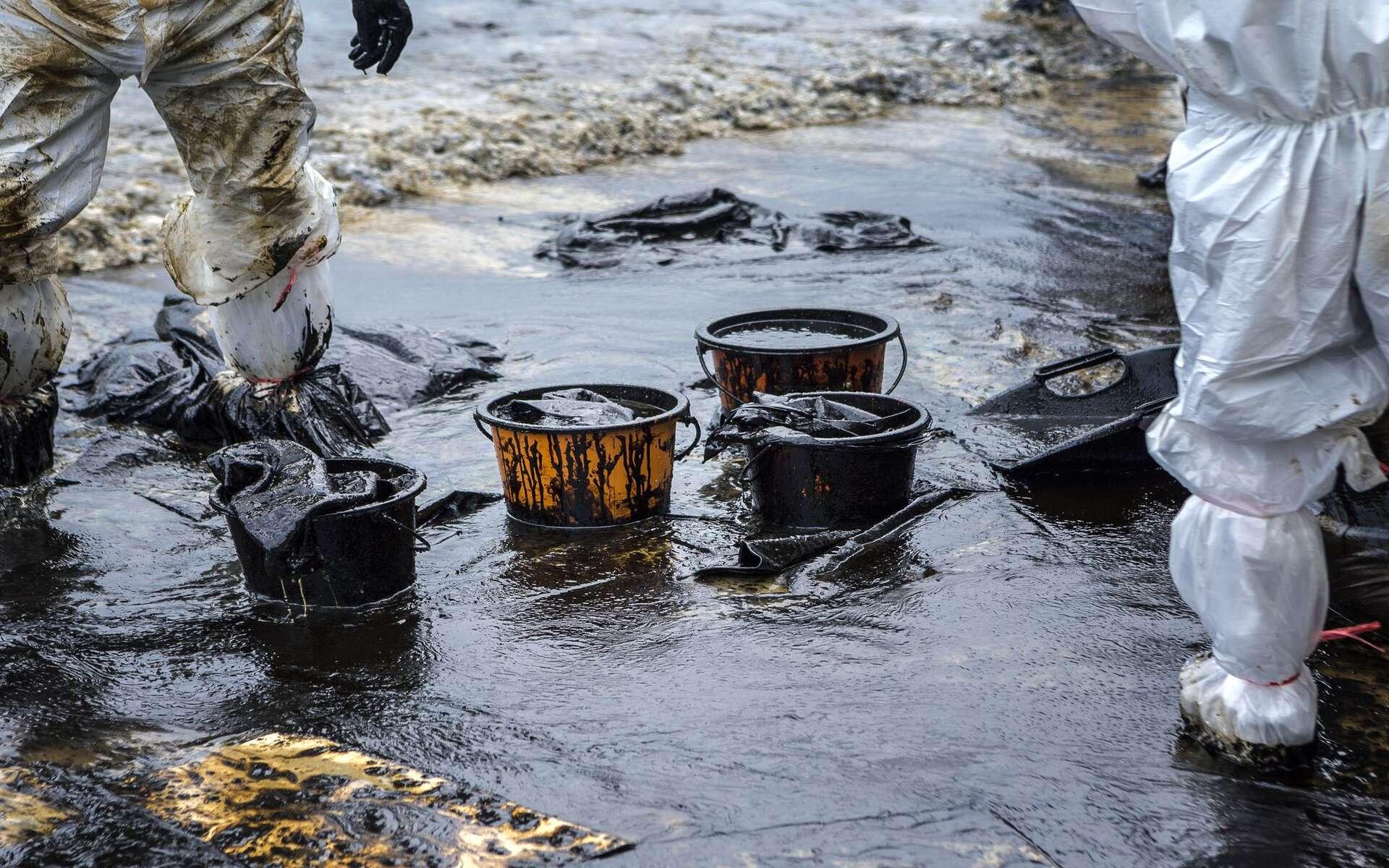 Des unités HazMat écopent le pétrole ayant submergé une plage lors d'une marée noire. © jukuraesamurai