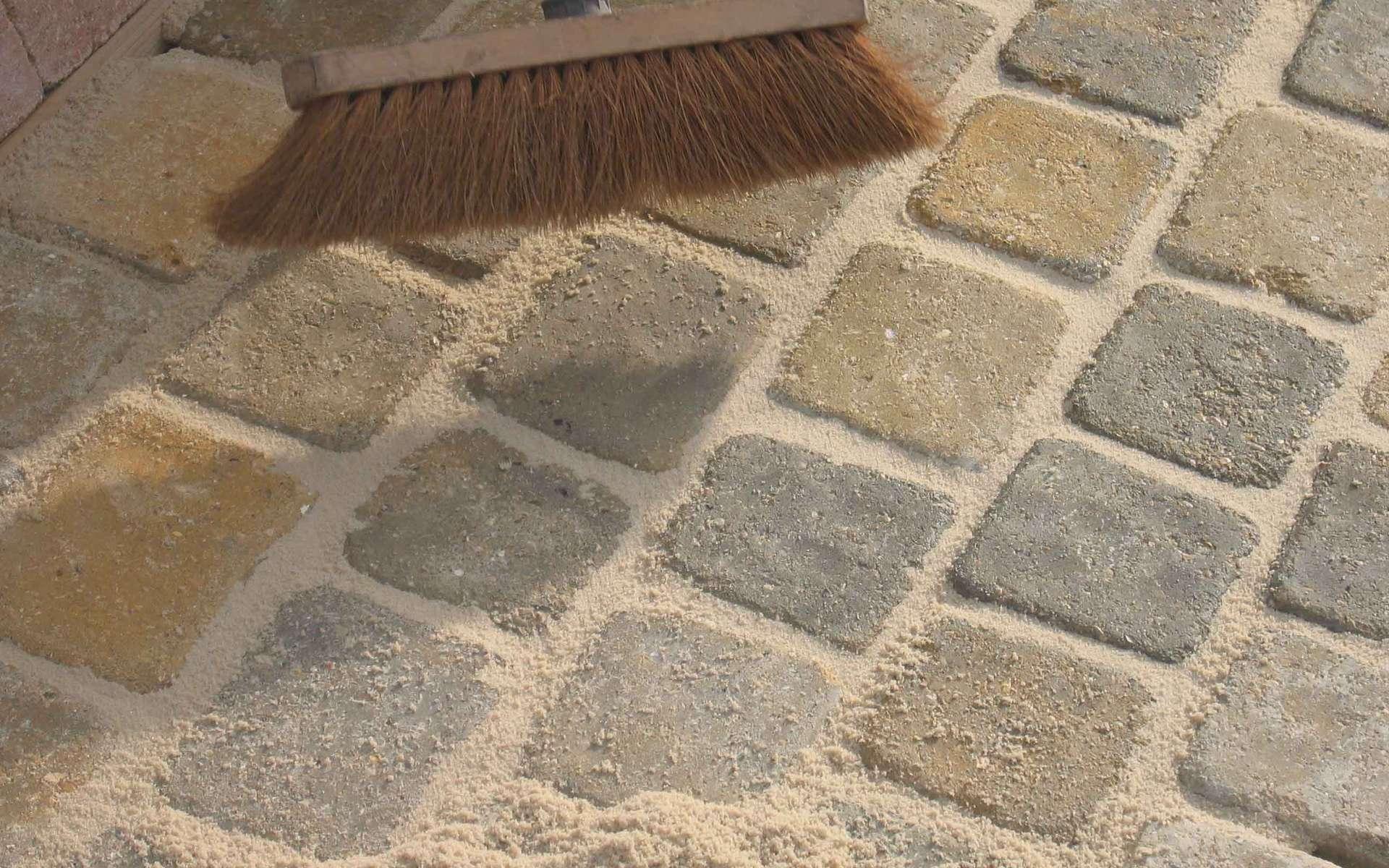 La norme NF EN 1338 régit la pose des pavés en béton, la norme NF EN 1339 celle des dalles. L'appareillage peut se faire de différentes façons : à joints droits, à joints alternés (photo), en opus romain, etc. © Marlux France