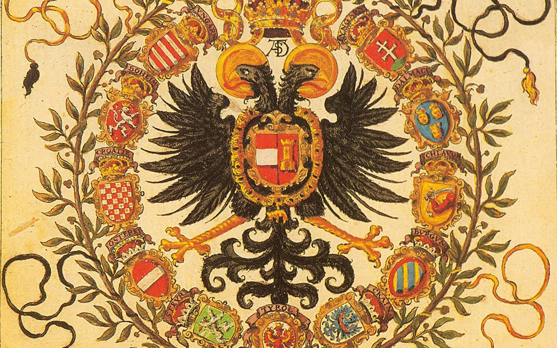 Armoiries du Saint Empire romain germanique, dans l'Armorial de Johann Siebmacher, paru en 1605. © Wikimedia Commons, domaine public
