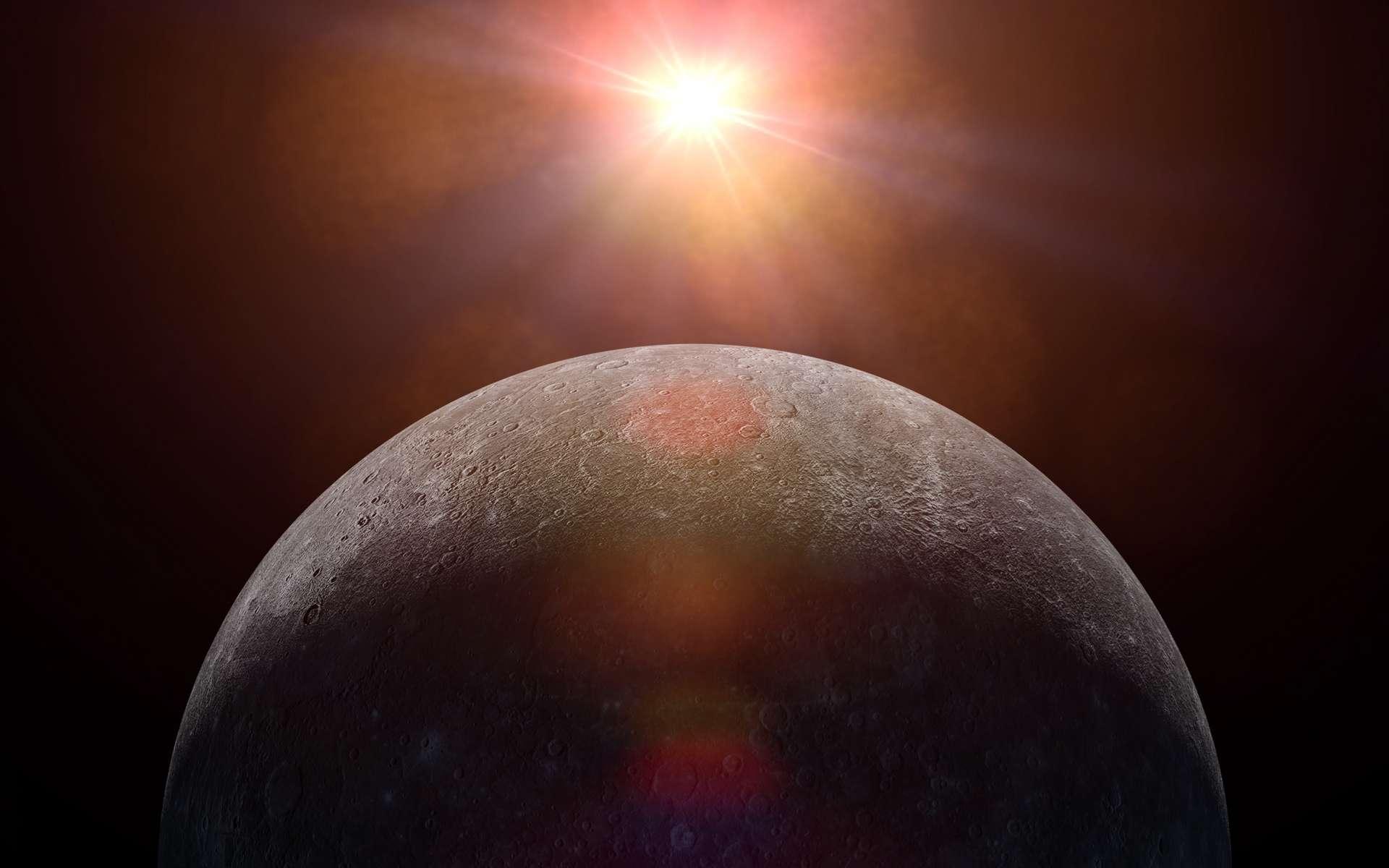 Une vue d'artiste de Mercure face au Soleil. © dottedyeti, Adobe Stock