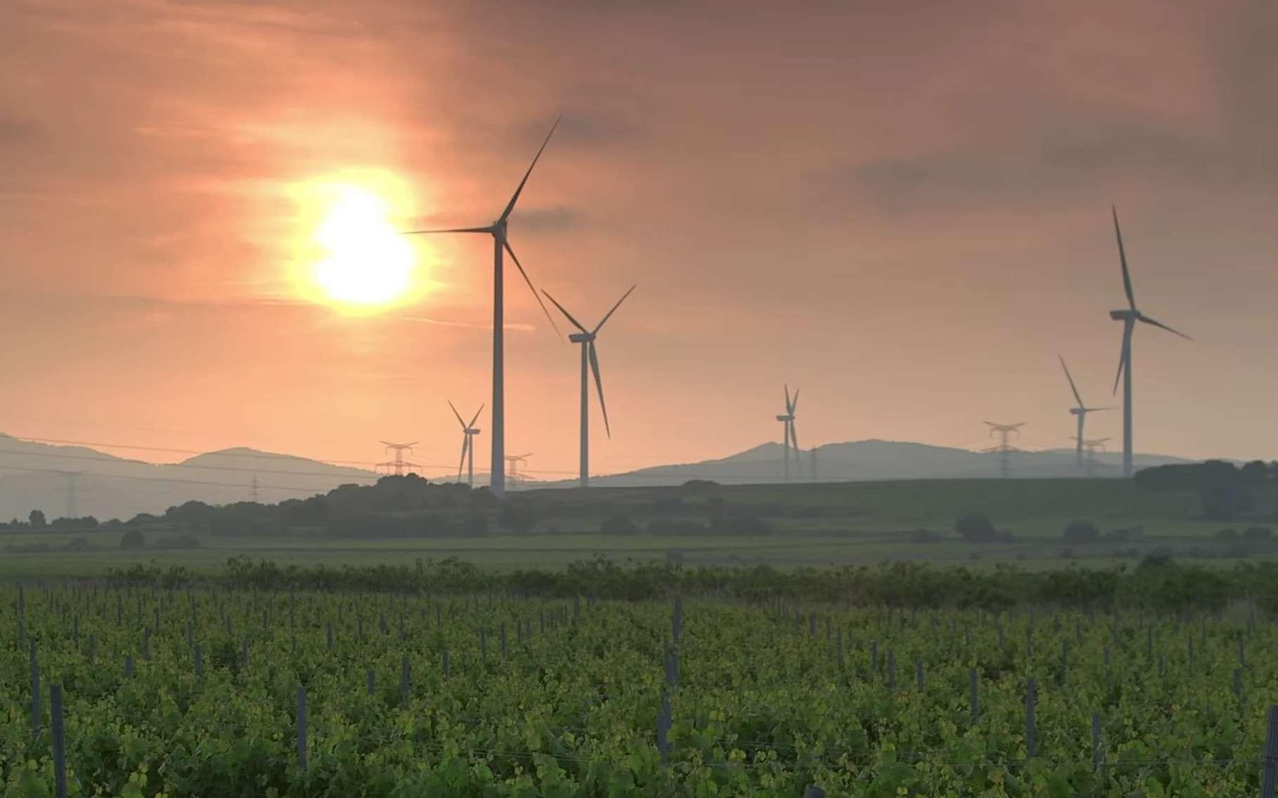 Les 35 turbines du parc éolien catalan, fabriquées par l'entreprise danoise Vestas, sont de deux types : des V80/2000 (80 m de diamètre et 2.000 kW de puissance) et des V90/3000 (90 m et 3.000 kW). © EDF