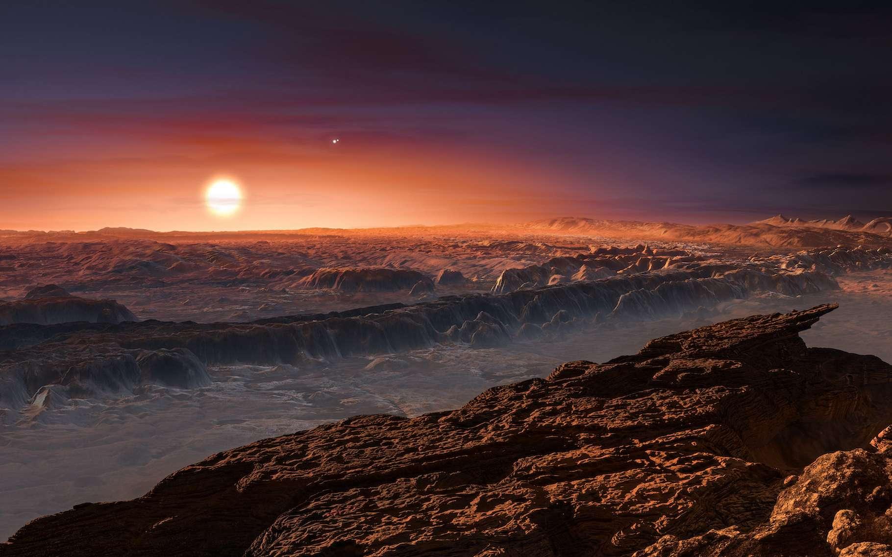 Une vue d'artiste du paysage de Proxima b, en orbite autour de Proxima Centauri, une naine rouge, au fond. © M. Kommesser, ESO