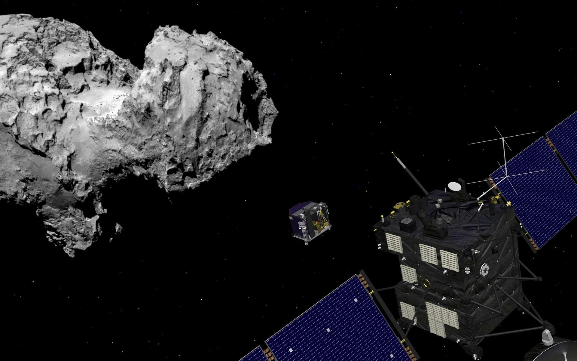 Le dernier pari audacieux de la mission Rosetta est prévu le 30 septembre 2016. Alors que la sonde n'a pas été conçue pour cela, elle tentera de se poser sur la comète Churyumov-Gerasimenko au terme d'une mission qui aura duré plus de 12 ans. © Esa, J. Huart, 2014 ; image comète : Esa, Rosetta, MPS for Osiris Team MPS