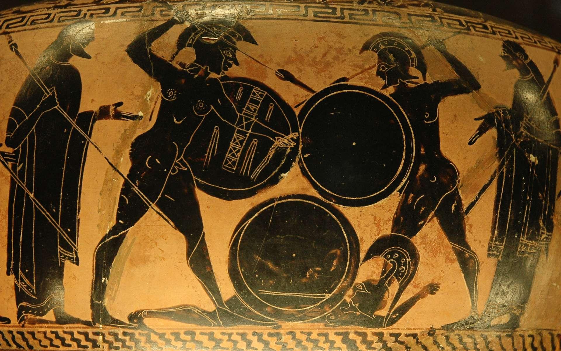 Combat d'hoplites, les fantassins de la Grèce antique. Musée du Louvre. © Jastrow, Wikimedia Commons, domaine public