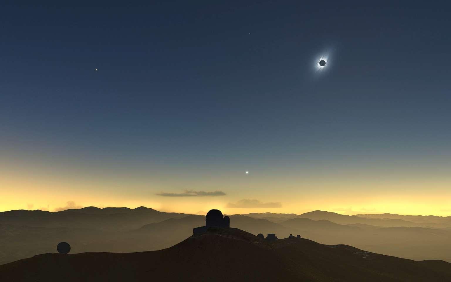 Illustration de l'éclipse totale du Soleil du 2 juillet vue de l'observatoire de La Silla, au Chili. © ESO