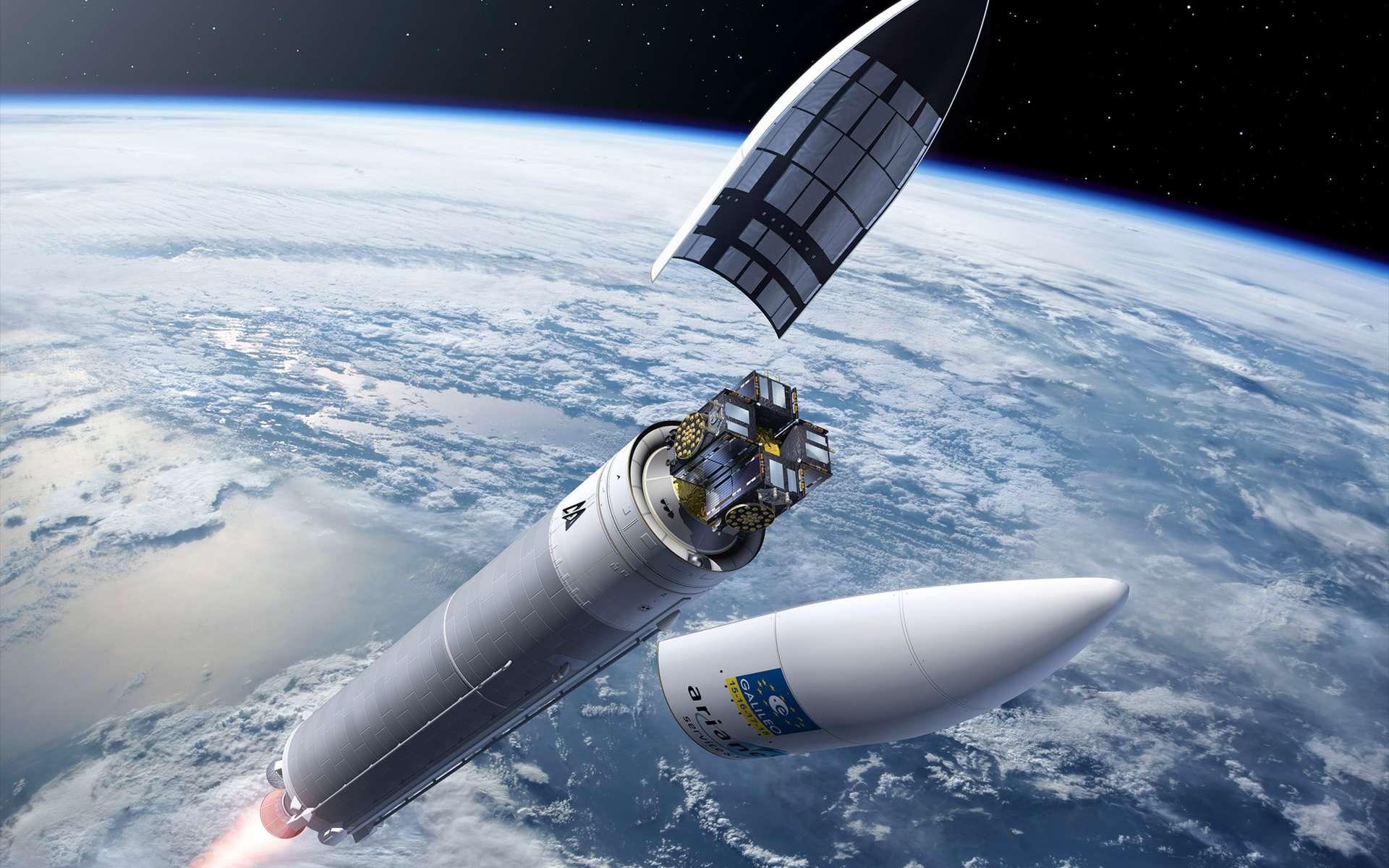 En 2016, une Ariane 5 (ES) plaçait en orbite, en un seul vol, quatre satellites de la constellation Galileo. © Esa, P. Carril
