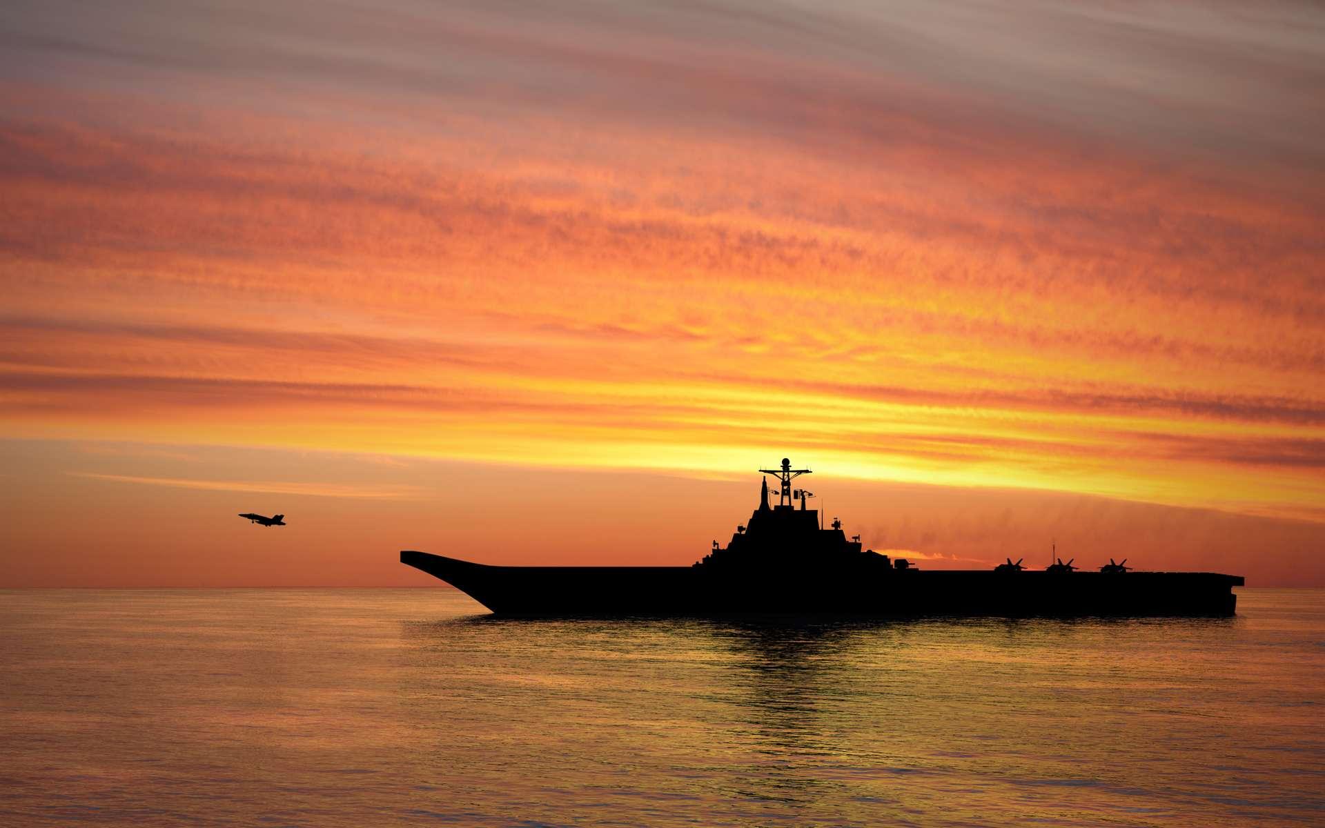 Un porte-avions au large de l'océan. © TebNad, AdobeStock