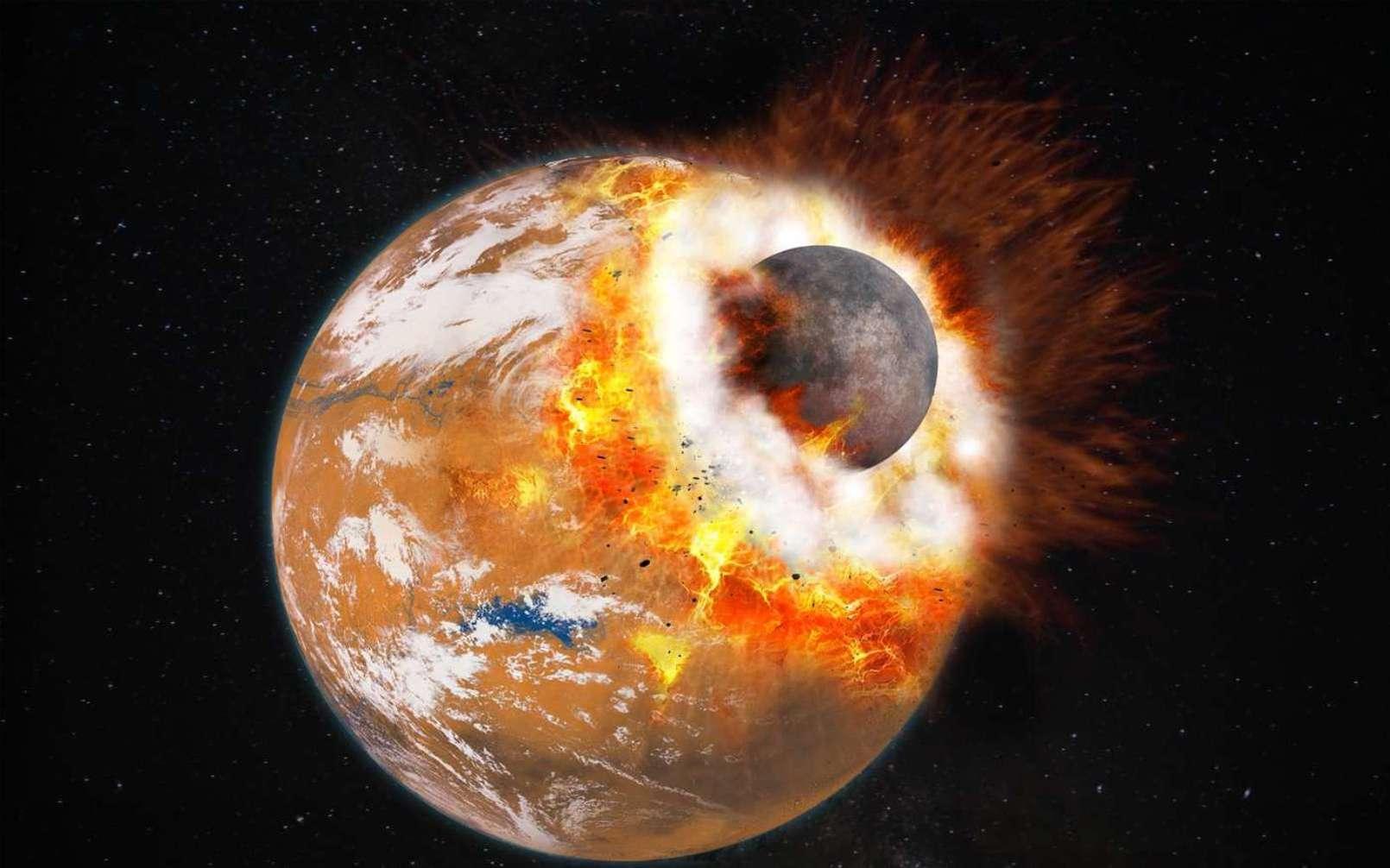 Vue d'artiste de l'impact géant qui aurait donné naissance à Phobos et Deimos et au Bassin boréal. L'impacteur devait faire environ le tiers de la taille de Mars dans le cadre de la simulation faite il y a quelques années et qui est donc aujourd'hui questionnée par une autre ne nécessitant pas un impacteur d'aussi grande taille. À cette époque, la Planète rouge était jeune et possédait peut-être une atmosphère plus épaisse et de l'eau liquide en surface. © Université Paris Diderot, Labex UnivEarthS