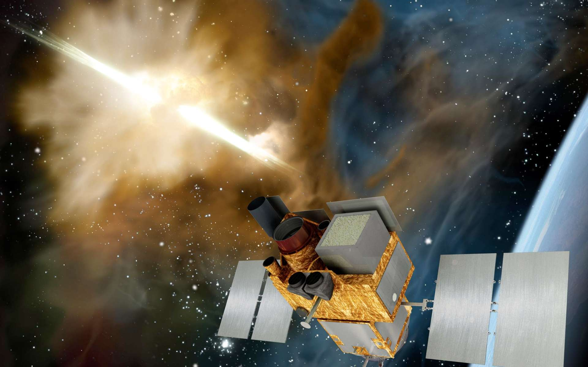 Svom fournira la localisation rapide et les paramètres spectraux et temporels d'au moins 200 sursauts gamma. Sa particularité est sa capacité à détecter et localiser les sursauts les plus distants (au-delà d'un décalage vers le rouge de 6). © Site Svom