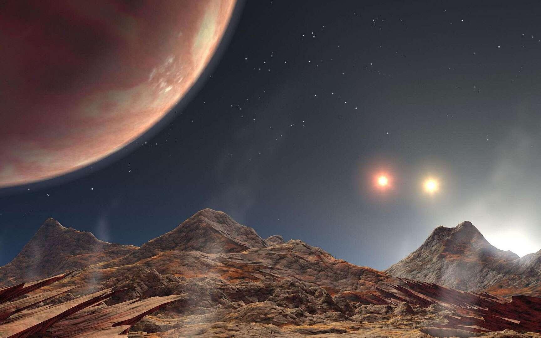 Même si cette vue d'artiste fait penser à un monde parallèle, cette interprétation est basée sur un fait avéré : la découverte d'une planète chaude de la taille de Jupiter (en haut à gauche sur l'image) dans le triple système stellaire HD 188753. Située à 149 années-lumière, dans la constellation du Cygne, cette planète massive appelée HD 188753 Ab a été détectée par Maciej Konacki après l'analyse des données de l'observatoire Keck, situé à Hawaï. Ici, l'observateur serait situé sur un satellite de cette Jupiter chaude. © Nasa JPL Caltech