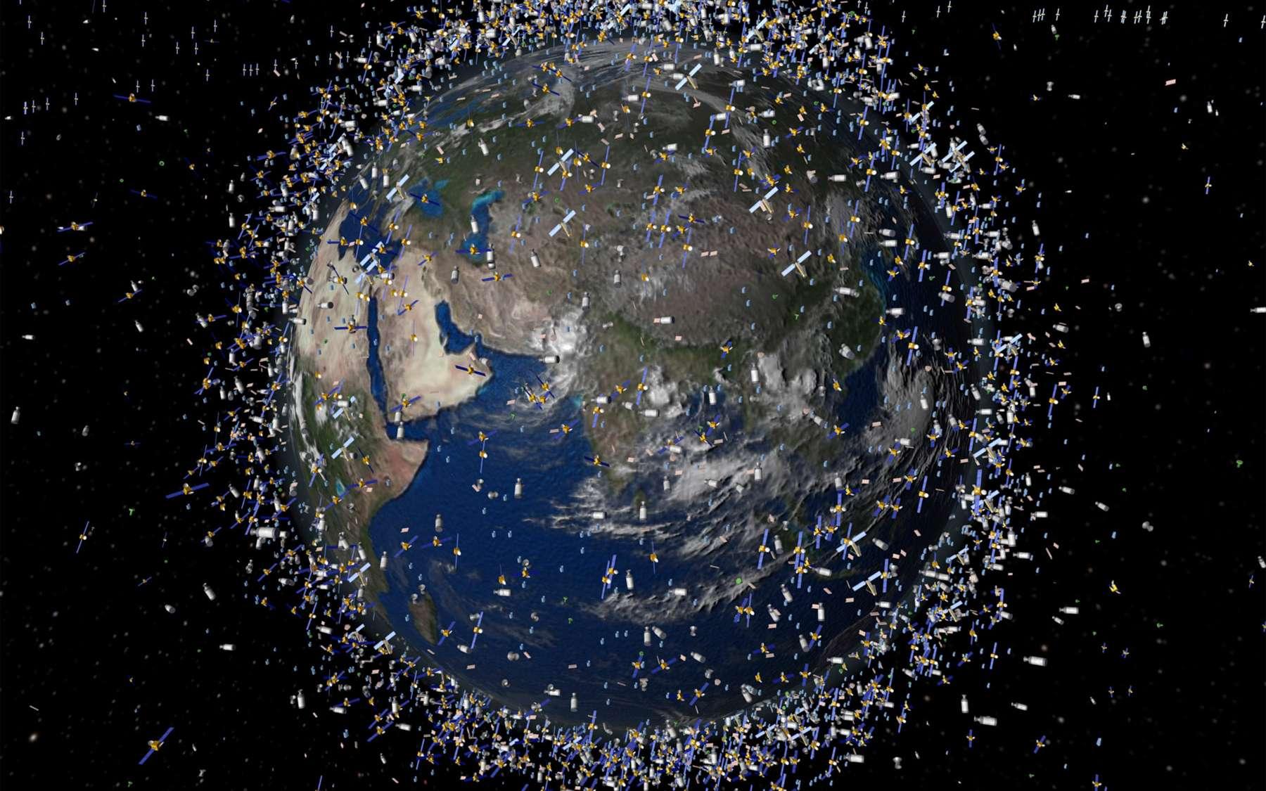 Vision d'artiste des débris spatiaux présents autour de la Terre, aux alentours de 2.000 km d'altitude. Un laser géant fait partie des solutions envisagées pour réduire les nuisances de ces débris sur les satellites. © Esa